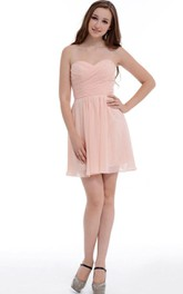 A-line Short Sweetheart Chiffon Dress With Ruffles