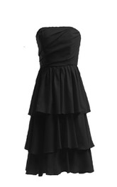 Strapless Layered Ruffle Dress With Zipper Back