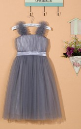 Ruffled Strapped Tulle&Satin Dress With Flower