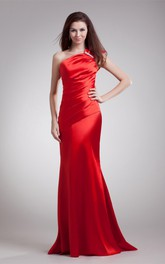 satin sheath one-shoulder dress with ruched bodice