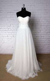 Special Sweetheart A-Line Tulle Wedding Dress With Ruching