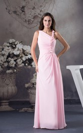 Pastel Sleeveless Ruched Chiffon Maxi Dress with Flower and Stress