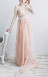Ethereal V-Neck Long Sleeve Tulle Dress