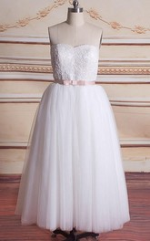Mini Sweetheart Tulle Lace Satin Weddig Dress
