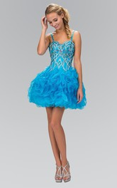 A-Line Mini Spaghetti Sleeveless Organza Zipper Dress With Ruffles And Beading