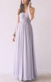 Floor-length Strapless Chiffon Dress