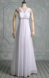 Boho Straps Sleeveless Chiffon Wedding Dress With Crystal Detailing And Ruching