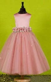 A-line Princess Scoop Sleeveless Bowknot Floor-length Tulle Flower Girl Dresses