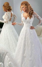 Arabic Long Sleeve Lace Appliques Bridal Gowns Sweetheart