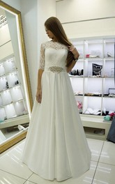 High Neck Lace and Satin Wedding Dress With Half Sleeves