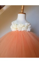 Lace Strap Sleeveless Pleated Ball Gown With Rhinestone Flower
