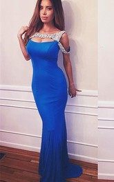 Sexy Crystals Mermaid 2018 Prom Dress Sweep Train