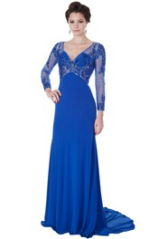 Beaded Long-Sleeve V-Neck Maxi Chiffon Evening Dress With Appliques