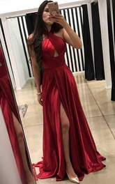A-line Cross Neck Floor Length Prom Dress with Split