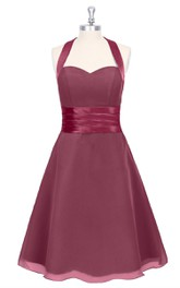 Sweetheart Chiffon A-Line Dress With Halter and Cinched Satin Waistband