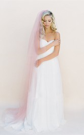 Korean Style New Pink Simple Bare Soft Trailing Plain Tulle Veil
