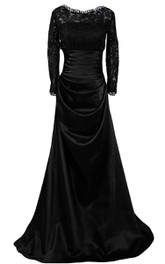 Long-sleeved A-line Draped Gown With Lace
