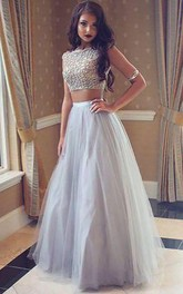 Bateau Sleeveless Tulle Floor Length Beading Two Piece Dress