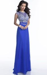 A-Line Sleeveless Chiffon Prom Dress Featuring Jeweled Waistline And Appliques