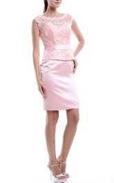 Sheath Mini Scoop Strapped Lace&Satin Dress