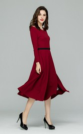 Burgundy Long Sleeve Cutout Midi Dress with Slit