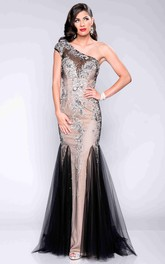 Mermaid Tulle One-Shoulder Prom Dress With Sequins And Beadings