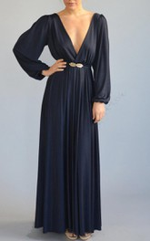Floor-length Bell Sleeve Dress