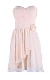 Sweetheart Ruched Drapped Short Dress With Flower