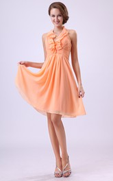 Alluring Style Dress With Ruffled Neckline And Draping