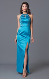 Fabulous V-cut High Neck Long Satin Dress With Side Slit