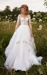 Tulle Illusion Sleeve Adorable Wedding Dress With Lace Details And Illusion Button Back