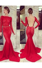 Trumpet Mermaid Bateau Long Sleeves Lace Sweep Brush Train Dresses