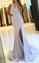 Sexy Side Slit Mermaid Halter Sweep Train Long Evening Dress