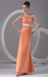 strapless ankle-length ruched satin dress with appliqued waist