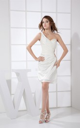 One-Shoulder Strapless Mini-Length Ruched Dress with Side Keyhole
