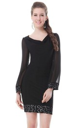 Long-sleeved V-neck Short Dress With Beadings