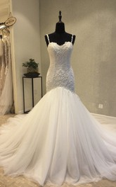 Lace Appliqued Mermaid Sweetheart Backless Wedding Dress With Straps