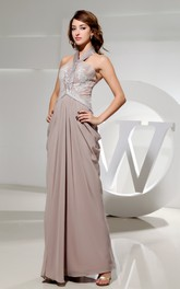 Chiffon Sleeveless Chiffon Dress With Beaded Halter and Appliques