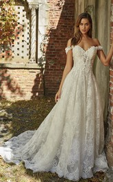 Adorable Sweetheart Off-the-shoulder A-line Wedding Gown With Lace Appliques And Open Back