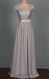 Floor-length Chiffon&Lace&Satin Dress With Beading