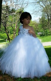 One-shoulder Tulle&Satin Dress With Beading&Flower