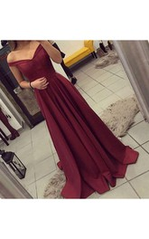 Off Shoulder Maroon Backless Satin Evening Prom Dress