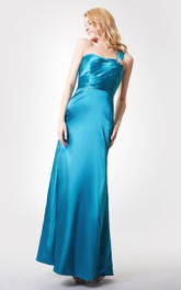 One Shoulder Ruched Long Chiffon Dress With Tiers
