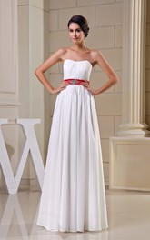 Strapless Pleated Floor-Length Dress with Broach