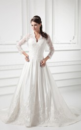 scalloped-neck plunged ball lace gown with illusion long sleeves