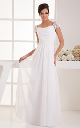 Caped-Sleeve Chiffon Maxi Dress with Ruching and Pleats