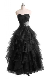 Sweetheart A-line Tiered Ruffled Dress With Beadings