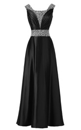 Sleeveless Pleated Satin Dress With Beading Belt and Trim