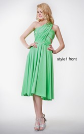 Convertible Ruched One Shoulder Knee-length Jersey Dress With Pleats