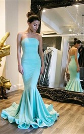 Mermaid Strapless Satin Evening Dress Prom Dresses